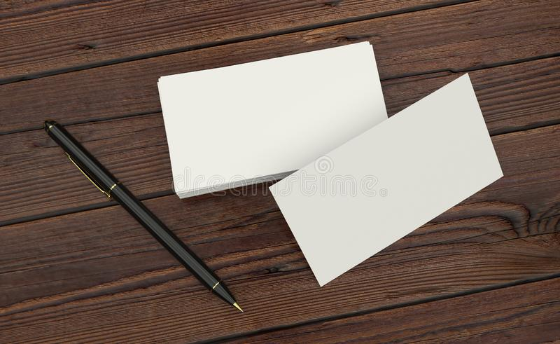 Blank white Business card presentation of Corporate id with black pen on wooden table royalty free illustration