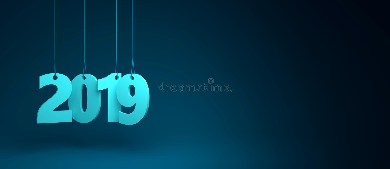 2019 3D Render on blue background stock photo