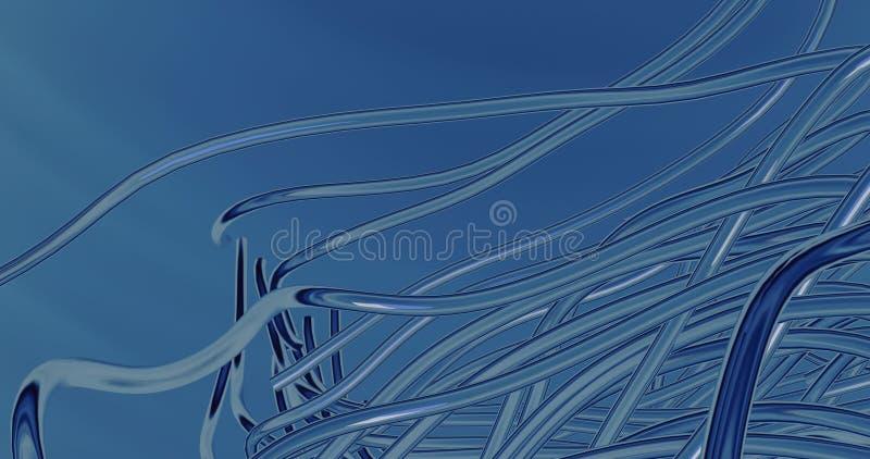 3d render of blue bending pipes. Render of blue bending pipes royalty free illustration