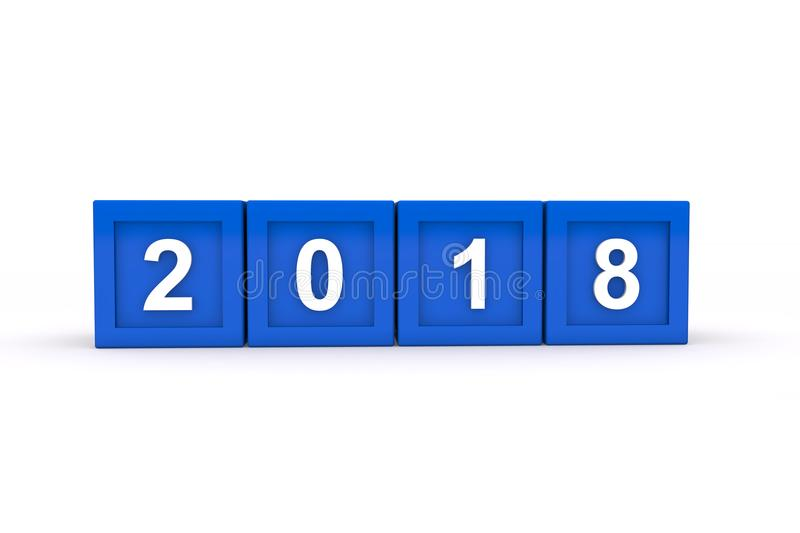 3d render of blue cubes with 2018 over white background stock images