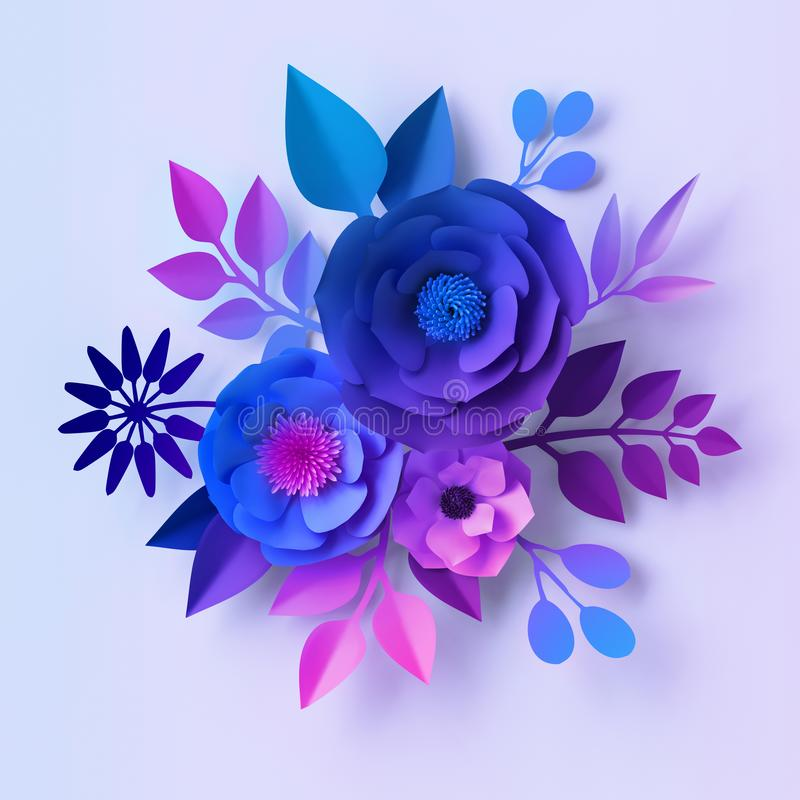 3d render, blue violet neon paper flowers, floral bouquet isolated on white background, botanical wall decor, decorative design vector illustration