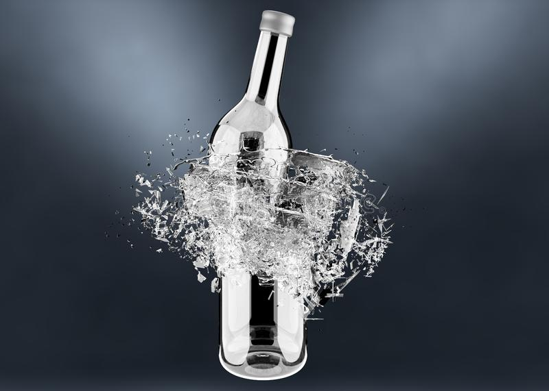 Breaking bottle with water splash royalty free stock photography