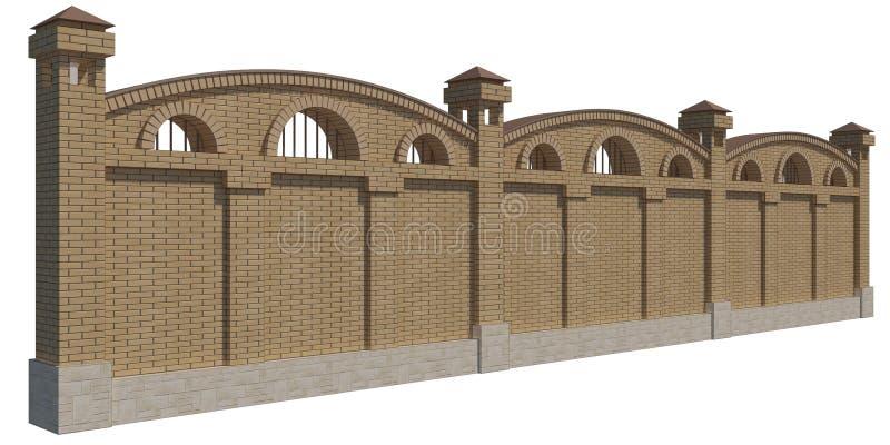 3D render of a brick fence. 3D illustration of a brick fence royalty free illustration