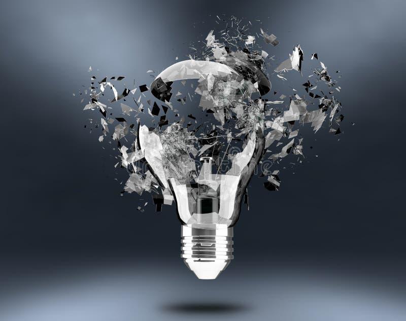 Broken light bulb. 3d render, Broken light bulb vector illustration