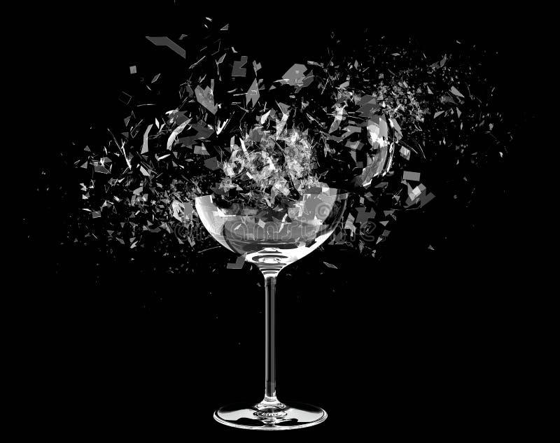 3d render, Broken wine glass royalty free stock image
