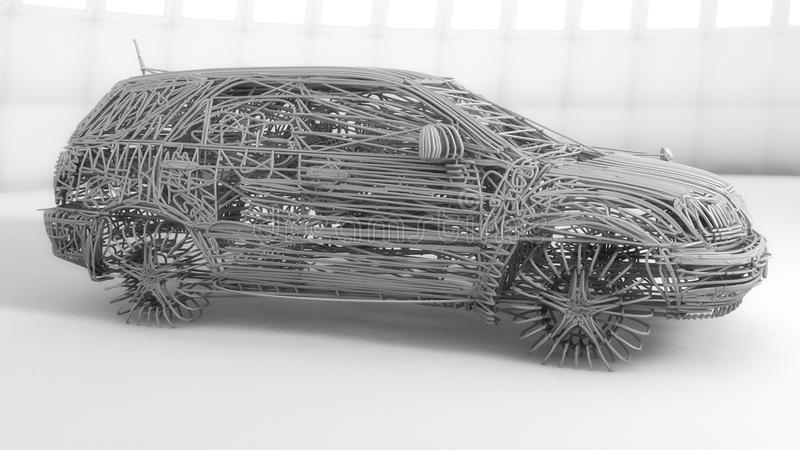 Car made with lines stock illustration