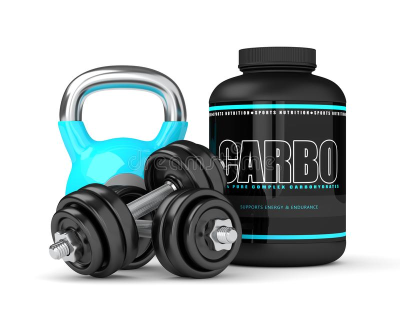 3d render of carbo powder jar with kettlebell and dumbbells. Isolated over white background royalty free illustration