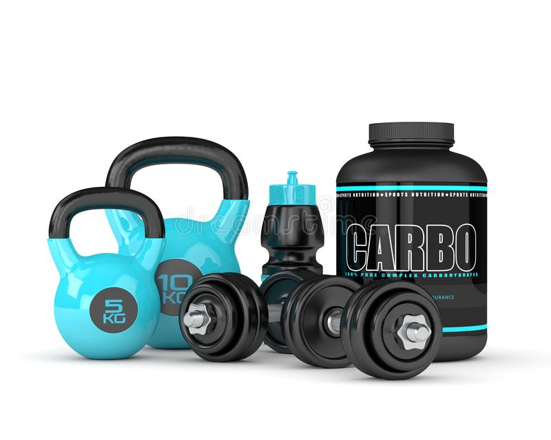3d render of carbo powder jar with kettlebells and dumbbells. Isolated over white background stock illustration