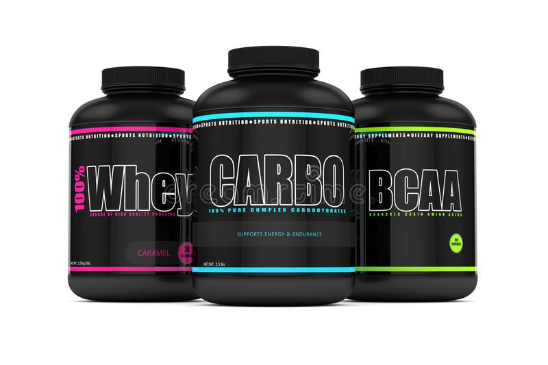 3d render of carbohydrates, whey, and bcaa jars. 3d render of carbohydrates, whey, and bcaa powder jar isolated over white background royalty free illustration