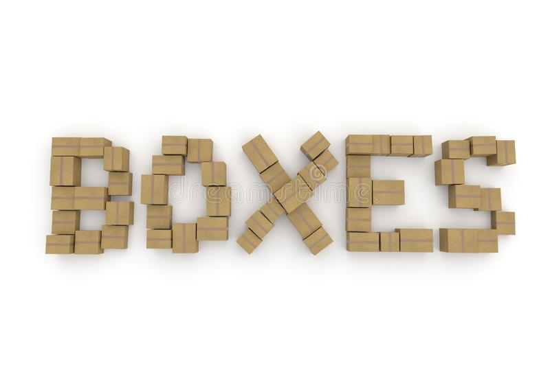 Cardboard boxes forming BOXES word royalty free stock images