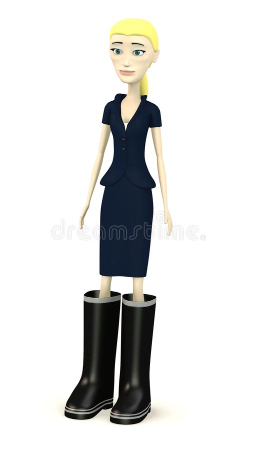 Cartoon businesswoman with funny boots royalty free illustration
