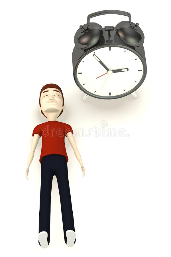 Download Cartoon Character With Alarm Clock Stock Illustration    Illustration Of Casual, Pose: 29795829