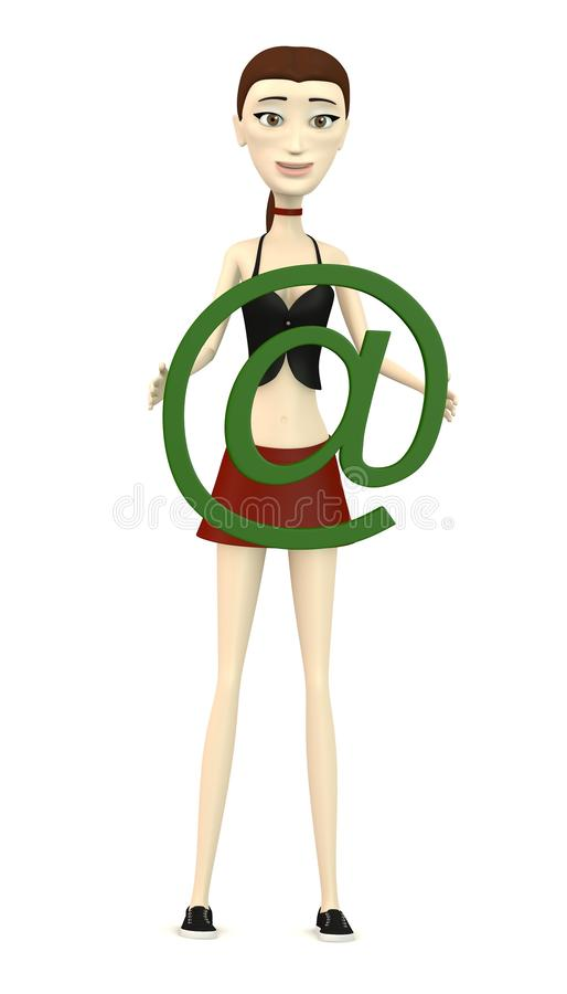 Download Cartoon girl with at-sign stock illustration. Illustration of illustration - 30256801