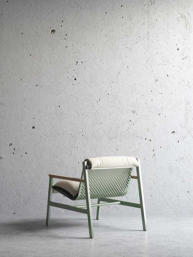 3d render of chair in concrete interior stock image