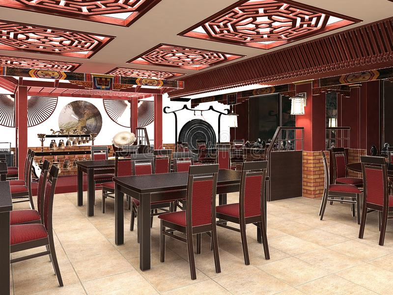 3d Render Of A Chinese Restaurant Interior Stock Illustration