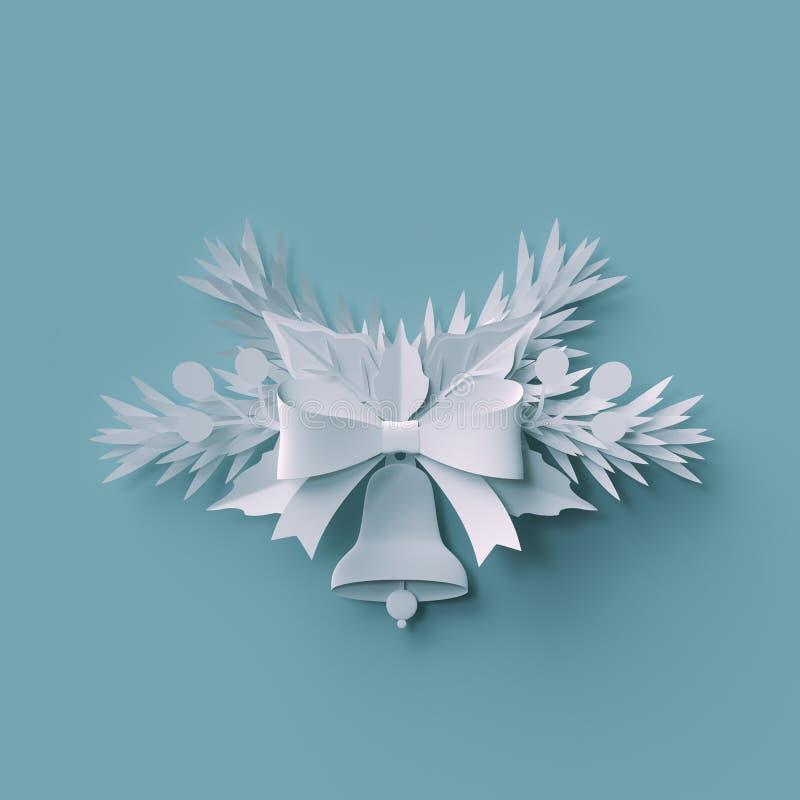 3d render, Christmas background, white paper bell, fir tree royalty free illustration