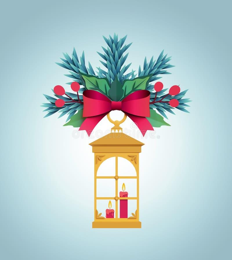 3d render, Christmas color paper fir tree ornament, flat bell, f vector illustration