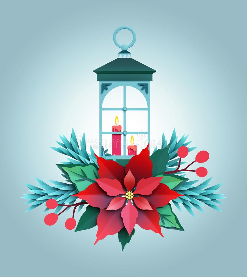 3d render, Christmas color paper lantern, red poinsettia flower, festive embellishment, holiday decoration, greeting card vector illustration