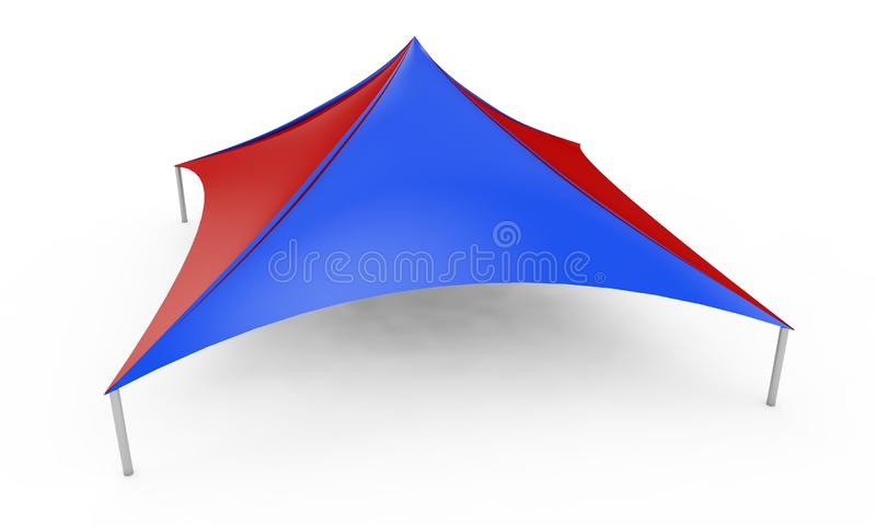 3D render clean white canopy, tent for outdoor activity and canvas, pipe structure in isolated background with work. Paths, clipping vector illustration