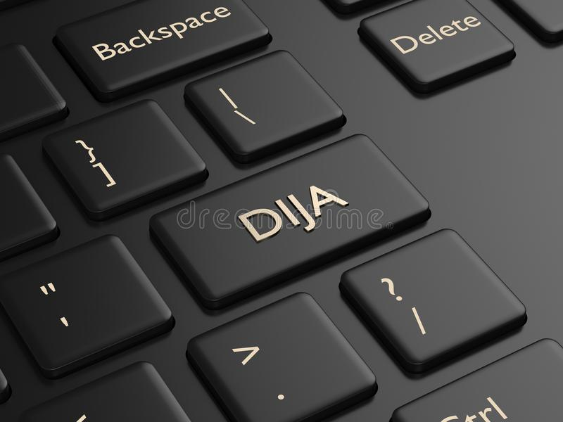 3d render of computer keyboard with DJIA index button stock image