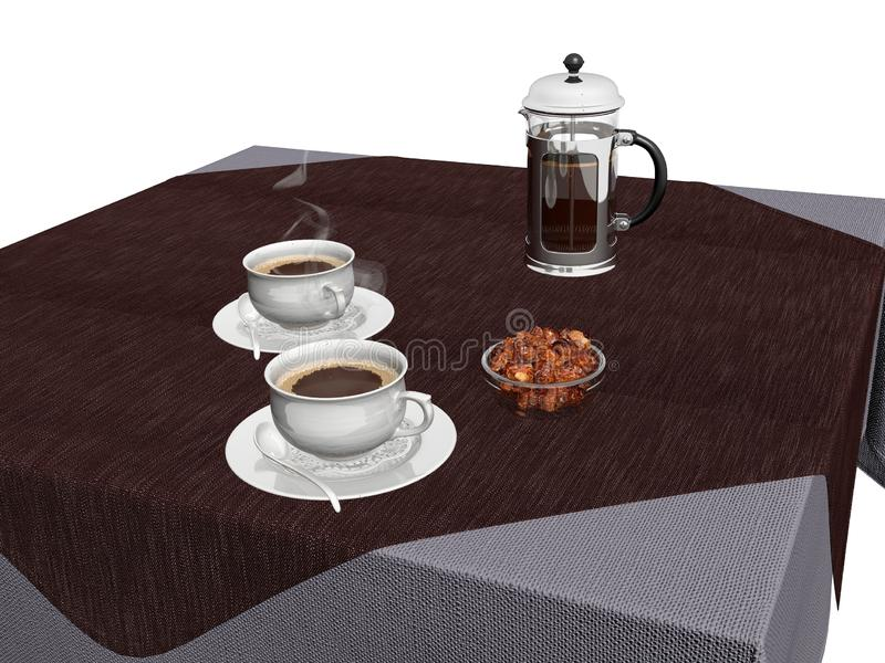 3d render cofee cup and desserts. With coffee press vector illustration