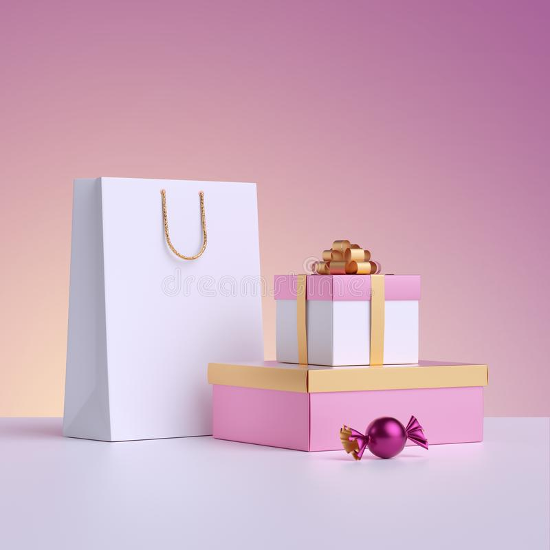 3d render. Commercial shopping concept, poster mockup. Shopping bag, wrapped gift box, candy isolated on pastel pink background. Product display for stock illustration