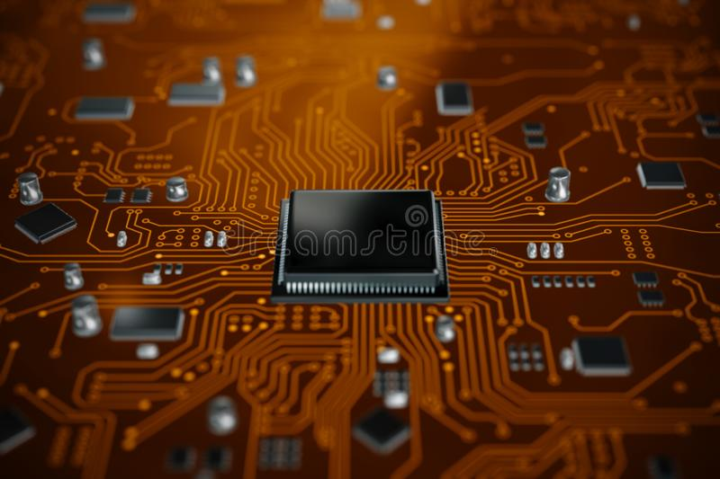 3D render CPU central processor unit chipset on the printed circuit board for electronic and technology concept select focus. Shallow depth of field royalty free stock image