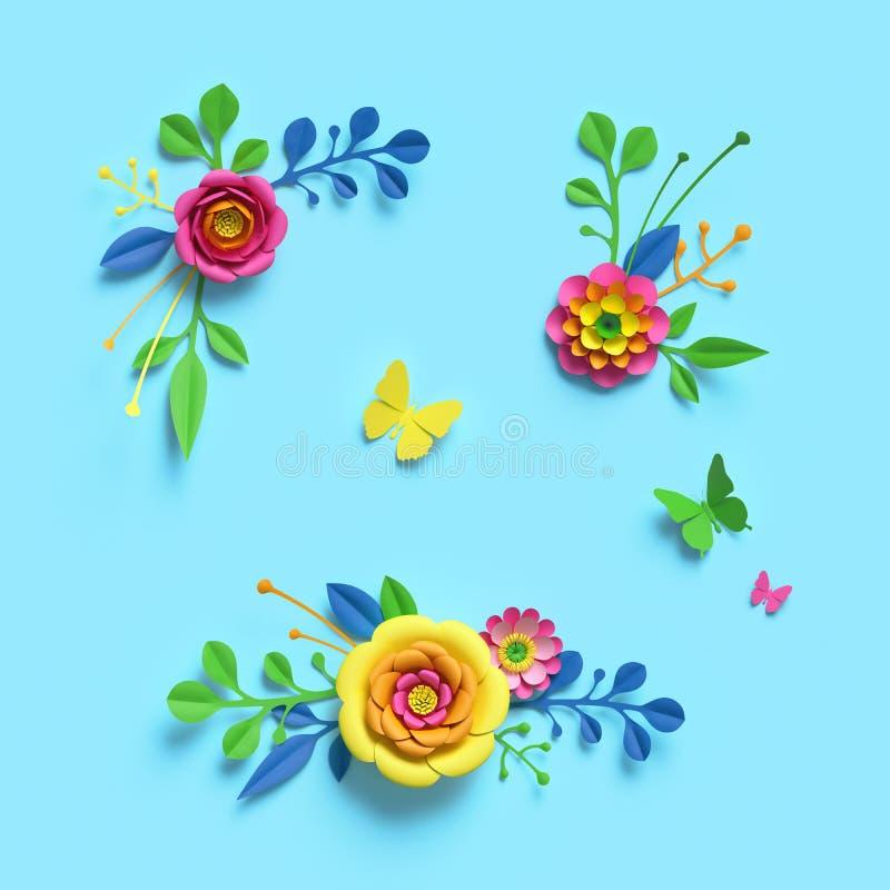 3d render, craft paper flowers, festive floral bouquet, clip art set, botanical arrangement, bright candy colors, nature design. Elements isolated on sky blue royalty free illustration