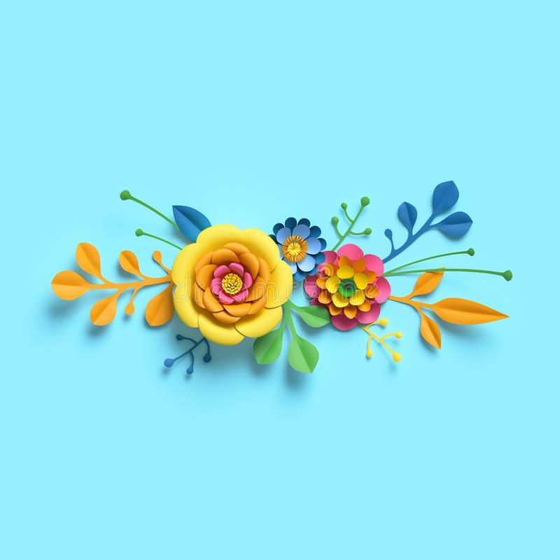 3d render, craft paper flowers, festive floral bouquet, horizontal border, botanical arrangement, bright candy colors, nature clip. Art isolated on sky blue royalty free illustration