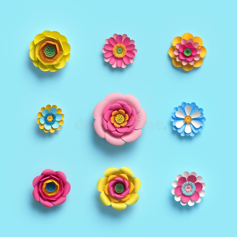 3d render, craft paper flowers, floral clip art set, botanical design elements, candy color, isolated on blue background stock illustration