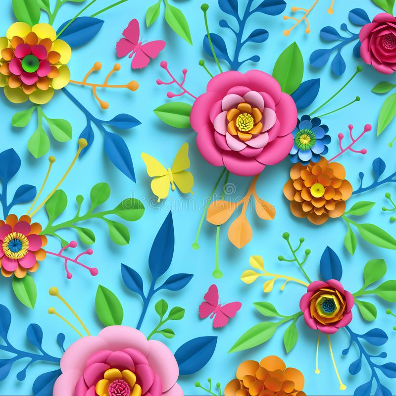 3d render, craft paper flowers, floral pattern, botanical ornament, bright candy colors, nature clip art isolated on blue. 3d render, craft paper flowers, floral stock illustration
