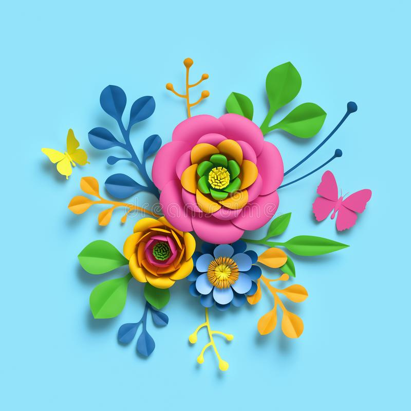 3d render, craft paper flowers, round floral bouquet, botanical arrangement, candy colors, nature clip art isolated on blue. 3d render, craft paper flowers royalty free illustration