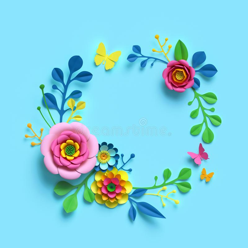 3d render, craft paper flowers, round floral wreath, botanical arrangement, blank space frame, candy colors, nature clip art. 3d render, craft paper flowers royalty free illustration
