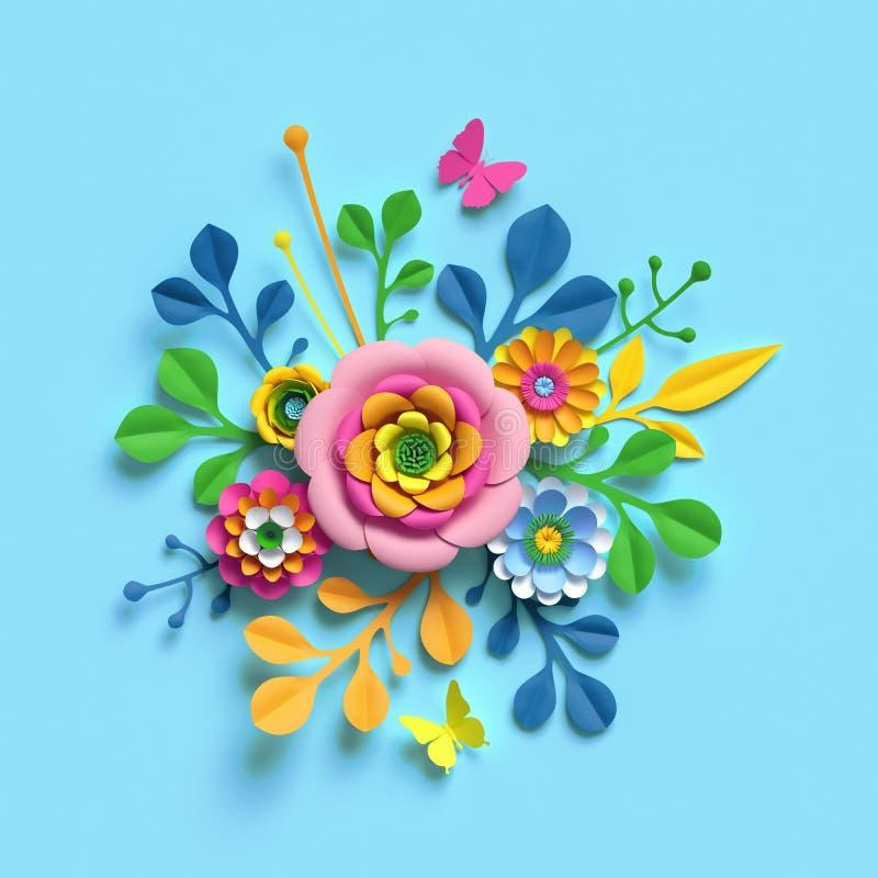 3d render, craft paper flowers, spring floral bouquet, botanical arrangement, candy colors, nature clip art isolated on blue. 3d render, craft paper flowers royalty free illustration