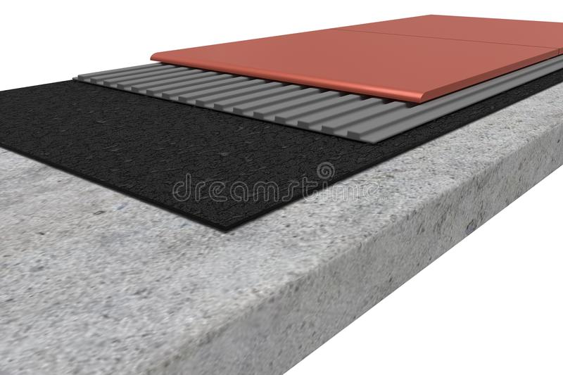 Cross-section laying of paving. Isolated on white background. vector illustration
