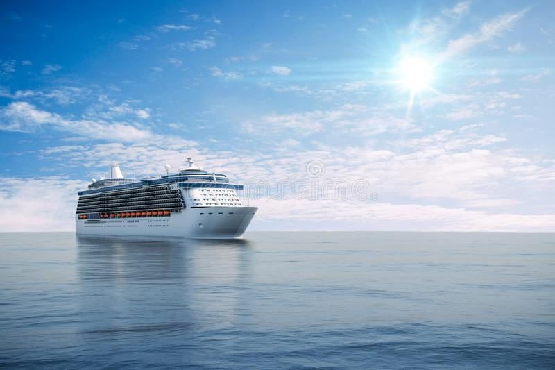 3d render of cruise ship on perfect blue sea stock illustration