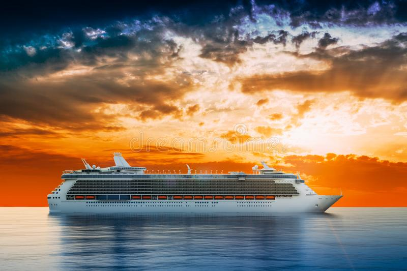 3d render of cruise ship on perfect blue sea royalty free illustration