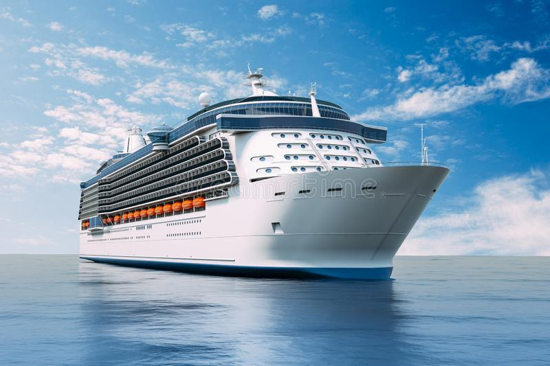 3d render of cruise ship on perfect blue sea vector illustration
