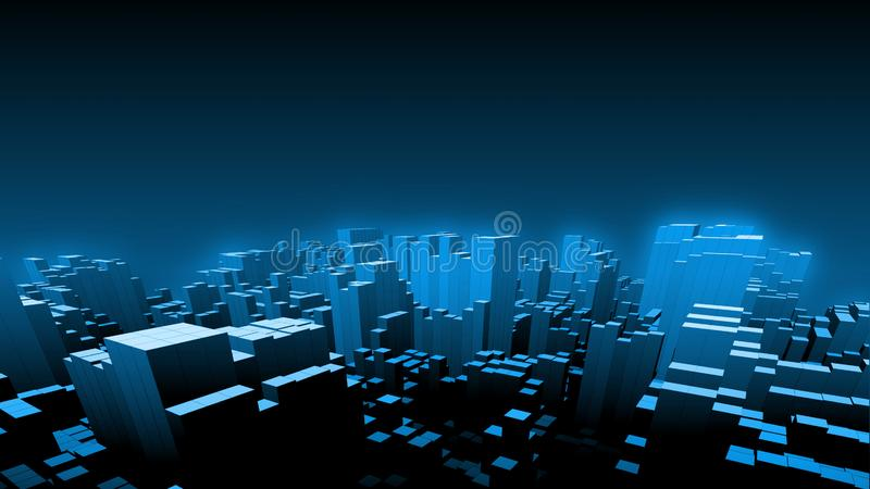 3D Render of cube boxes form up a shape of large digital cityscape at night with soft glow blue sky background. vector illustration