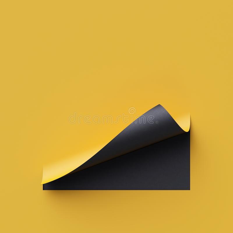 3d render yellow note paper. Blank banner, page curl, shadow, design element. Yellow and black creative background. 3d render curled corners of note paper. Sheet royalty free illustration