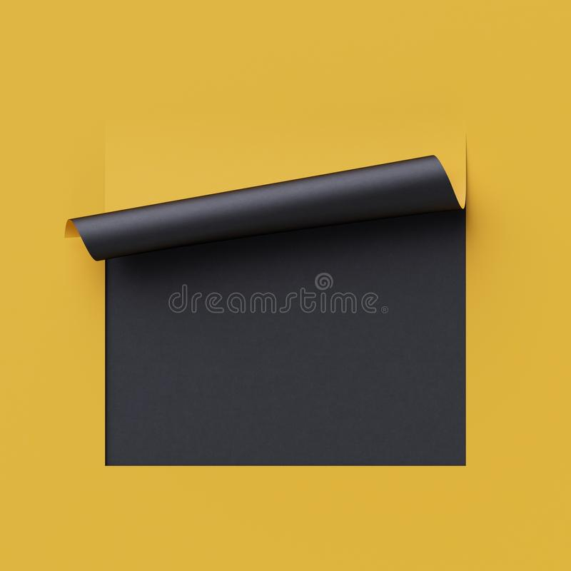3d render yellow note paper. Blank banner, page curl, shadow, design element. Yellow and black creative background. 3d render curled corners of note paper. Sheet stock illustration