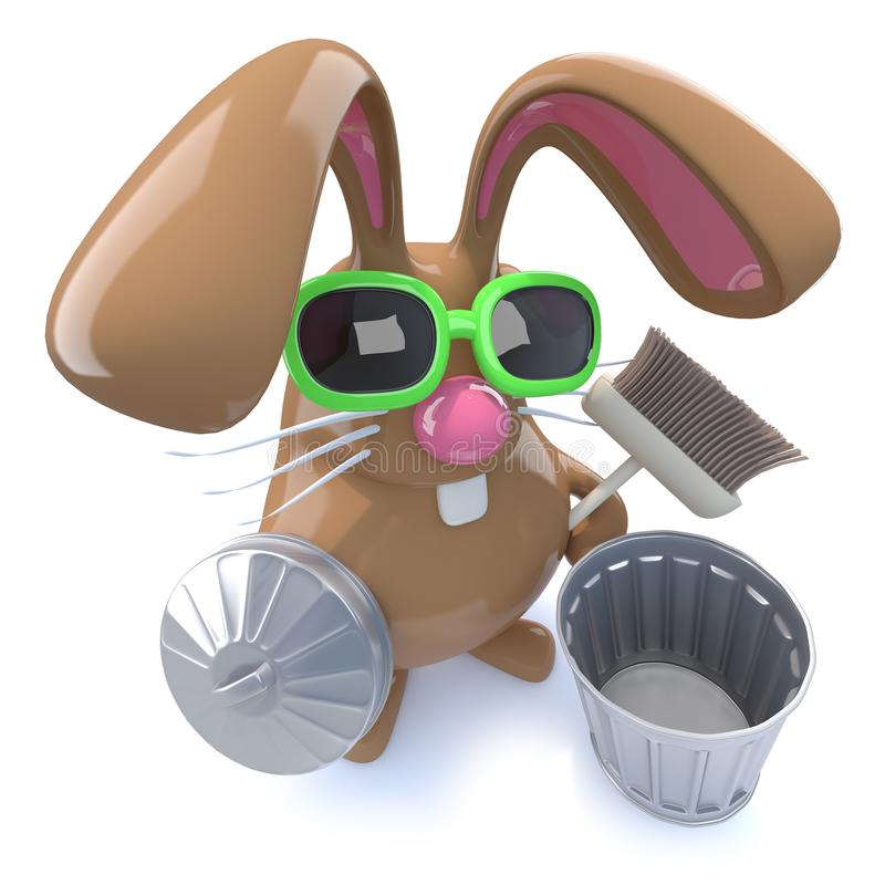 3d Cute chocolate Easter bunny rabbit ready to clean with a broom. 3d render of a cute chocolate Easter bunny rabbit ready to clean with a broom vector illustration