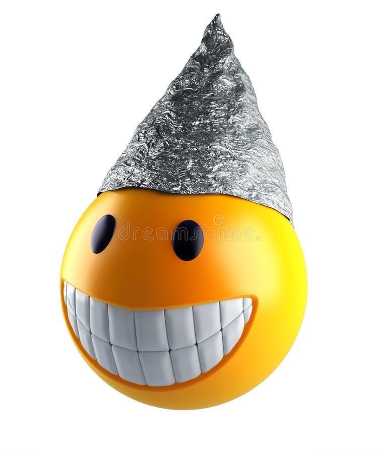 Cute smile emoji sphere with tin foil hat vector illustration