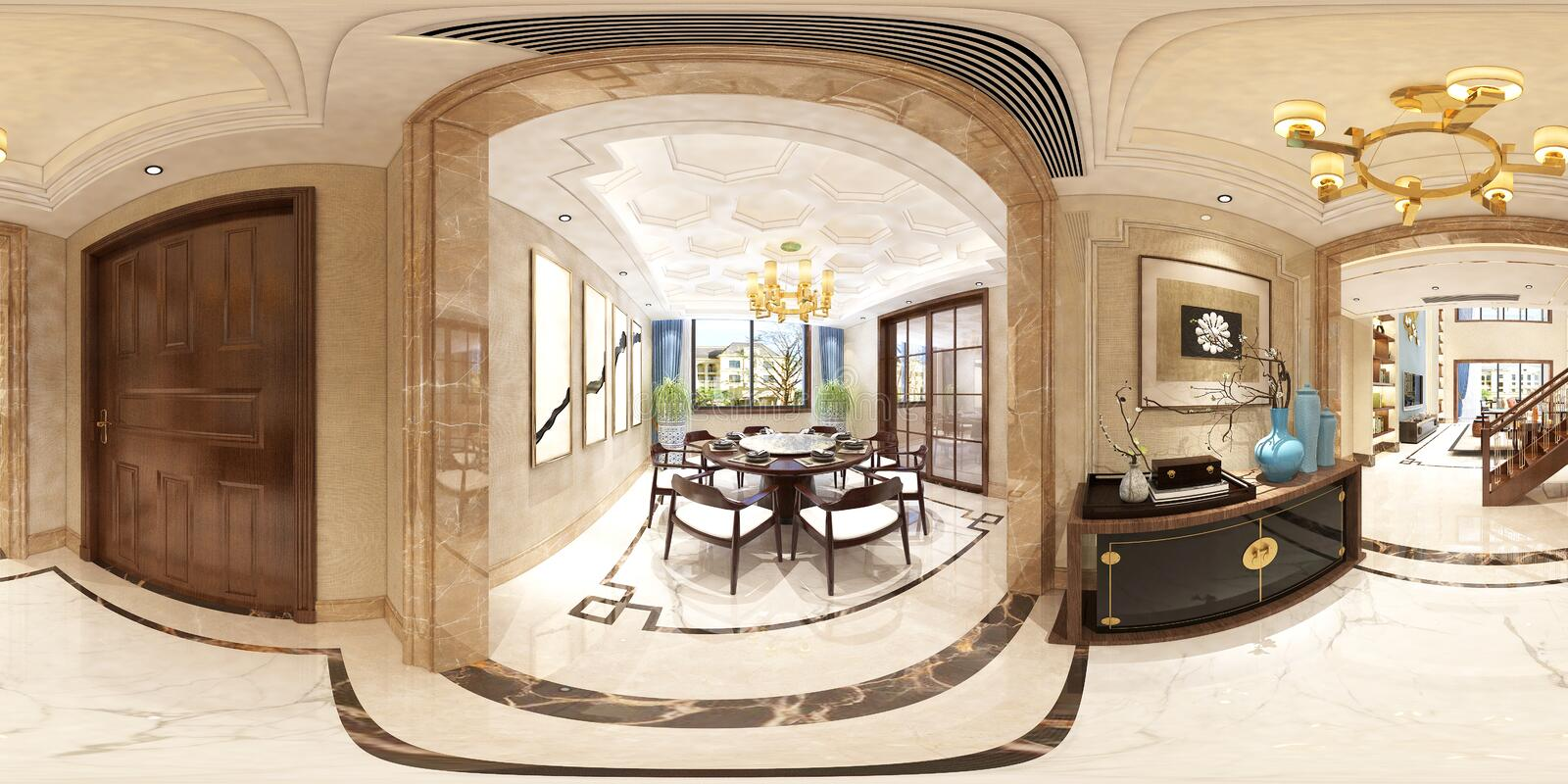 3d render of 360 degrees living and dining room vector illustration
