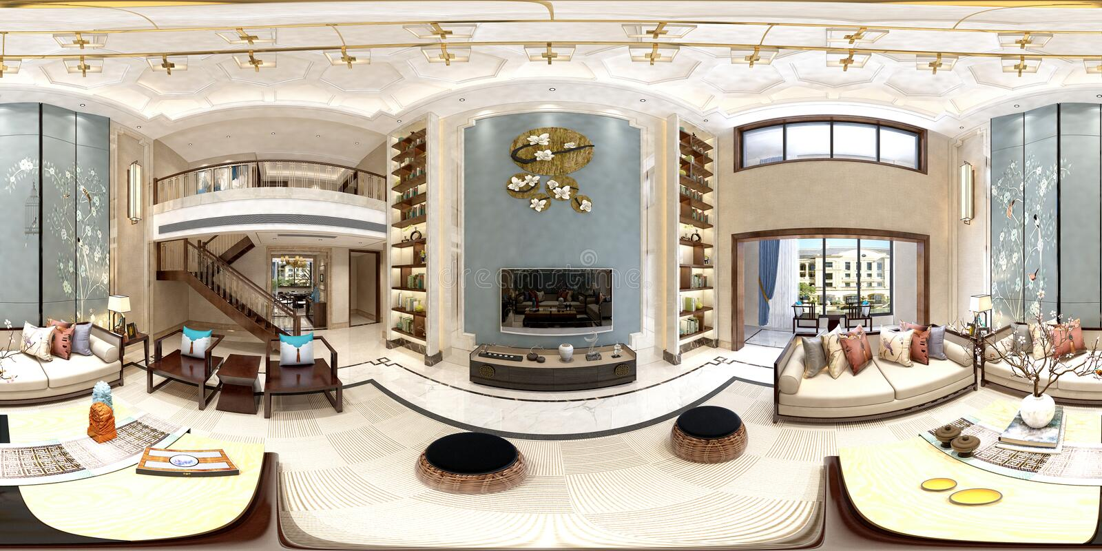 3d render of 360 degrees living and dining room stock illustration