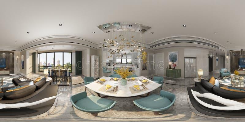 3d render of 360 degrees living room royalty free illustration