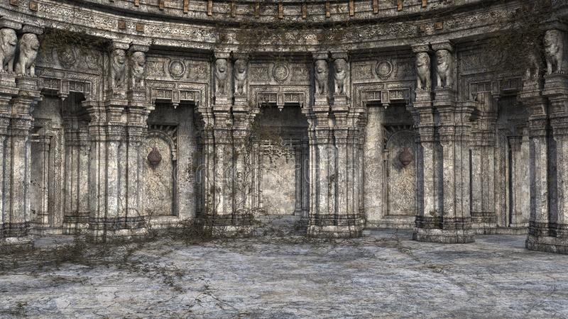 3D render of derelict and overgrown fantasy style court or throne room stock image