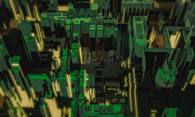 3d render digital abstract dark green building architecture fragment. Cyber City. Printed circuit board PCB technology repetition. Displacement stock photography