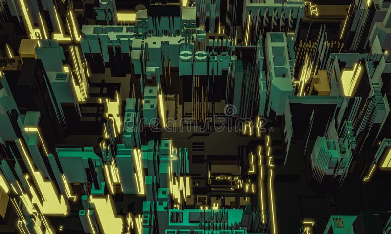 3d render digital abstract retro color building architecture fragment. Cyber City. Printed circuit board PCB technology repetition stock images