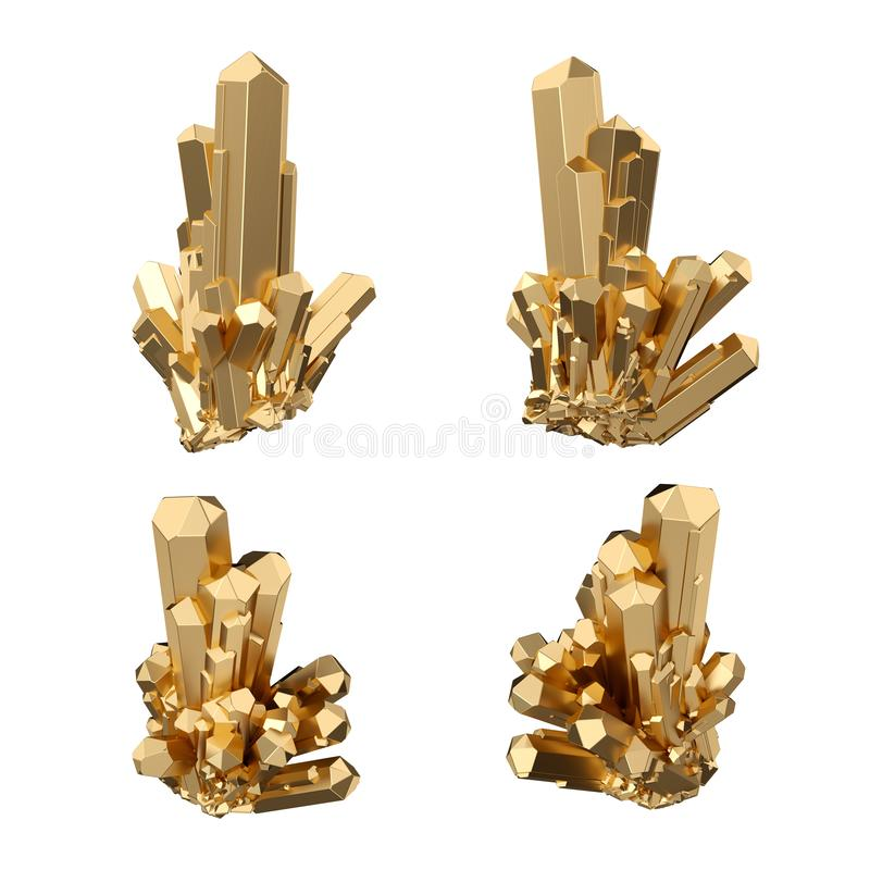 3d render, abstract gold crystals, perspective view, golden nugget, esoteric design element, isolated on white background royalty free illustration